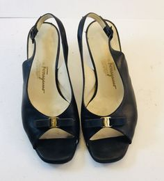 767dcf7d6845 Salvatore Ferragamo Black Leather Bow Pumps Sz 6  fashion  clothing  shoes   accessories