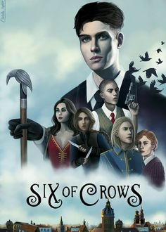 """cladelle: """"Finally finished painting my cover for Six of Crows (based on the Rogue One Movie poster) because I felt like the gang needed some dramatic poses """""""