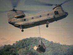 Boeing CH-47 Chinook at LZ Lance, 1970.  #VietnamWarMemories.