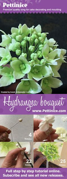 Learn to make a sweet hydrangea sugar flower bouquet with Lisa Templeton of LM Cake design.