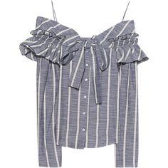 LUG VON SIGA Off-Shoulder Stripes Blue // Draped off-shoulder blouse ($400) ❤ liked on Polyvore featuring tops, blouses, blue blouse, off the shoulder ruffle top, cotton blouse, off shoulder ruffle blouse and draped blouse