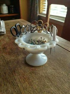 This is a great way to stash those sewing scissors and pins. The milk glass brings a fresh take to any sewing room or notions storage. Sewing Room Organization, Craft Room Storage, Craft Rooms, Easy Storage, Storage Ideas, Makeup Organization, Makeup Storage, Storage Solutions, Bed Storage