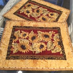 Your place to buy and sell all things handmade Fall Placemats, Sunflower Kitchen Decor, Place Mats Quilted, Mug Rugs, Kitchen Stuff, Patio Ideas, Hostess Gifts, Sunflowers, Quilt Blocks