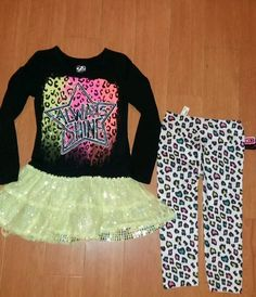 f44563d4406 Girls Justice EUC Tunic Dress Tulle Size 8 Animal Print Leggings 2pc Outfit  set  fashion  clothing  shoes  accessories  kidsclothingshoesaccs ...