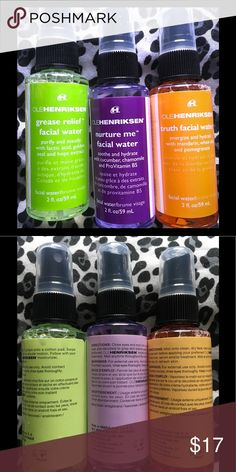 *NWOT* Ole Henrikson Facial Water 💦 Pack of 3 Ole Henrikson facial water. Threw away the box bc I was trying to make more room for my things lol. The grease relief was not used at all but the other two sprays were used once and there is ↪️ PLENTY ↩️ of product left if not pretty full ✔️. Ole Henriksen Makeup