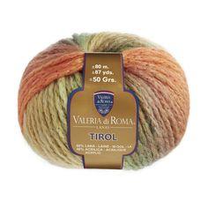 """""""Tirol"""", un ovillo 60% Lana y 40% Acrílico de 50 gramos y 80 metros (87 yardas), ideal para usar con agujas del número 7-8. Cuenta con un surtido de 8 colores."""