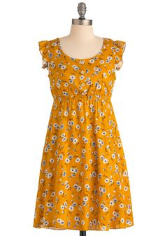 Refreshing Memories Dress - Mid-length, Casual, Vintage Inspired, Yellow, Blue, Brown, White, Buttons, Ruffles, Empire, Multi