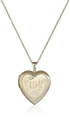 14k Gold-Filled Hand Engraved Heart Sister Locket Necklace * Check out this great product.