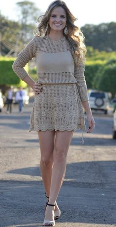 New crochet knit fashion inspiration ideas Crochet Skirts, Crochet Socks, Crochet Clothes, Crochet Lace, Knit Dress, Lace Dress, Spiral Crochet, Crochet Woman, Crochet Fashion