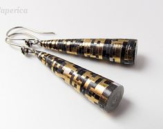 Paper earrings –Gold and black paper bead earrings –First anniversary gift –Paper anniversary earrings –Bright eco-friendly paper jewelry