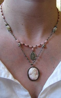Silver rosary necklace . vintage cameo and antique by adorelic