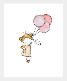 Trafalgar's square Brown - Haired Princess Fly Girl Print ★ Birthday Girl Inspiration
