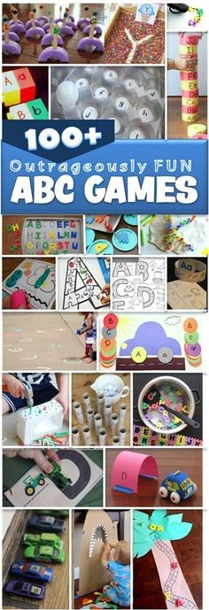 100 ABC Games - so many creative, unique and outrageously fun ideas to teach kids their letters with these alphabet activities for toddler, preschool, prek, and kindergarten age kids. Preschool Literacy, Preschool Letters, Literacy Activities, Kindergarten Age, Preschool Activities, Teaching The Alphabet, Learning Letters, Teaching Kids, Teaching Resources
