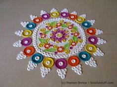 Beautiful and innovative multicolored rangoli   Creative rangoli designs by Poonam Borkar - YouTube