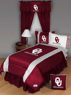 OKLAHOMA SOONERS, OSU, QUEEN BEDDING SET, Comforter, 4 pc Sheet Set, Boy Football NCAA bag by Dream Time Kids Bedding. $111.22
