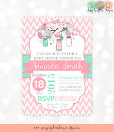 Mason Jars Baby Shower Invitation - Baby Girl Pink Mint Gray Floral Rustic Whimsical Chevron Polka Dot DIY Printable Invite PDF Be right on