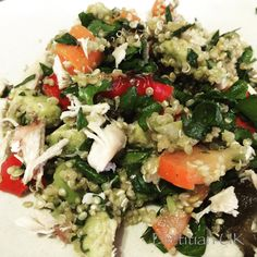 Dietitian UK: Chicken and Roasted Vegetable Quinoa Salad #vegetables #quinoa #glutenfree #wheatfree #recipe #protein #healthy #packedlunch