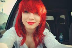 mid-length, choppy, red hair