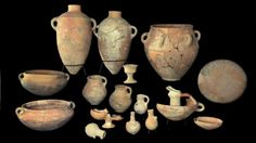 Various finds from what is thought to be King David's palace in Jerusalem, Israel.