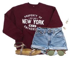 """""""I hate chemistry homework so much"""" by flroasburn ❤ liked on Polyvore featuring Levi's, Birkenstock, J.Crew and Ray-Ban"""