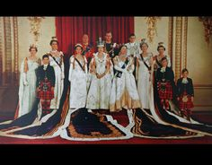 express: Senior Members of the British Royal Family photographed at Buckingham Palace after the Coronation of Queen Elizabeth in 1953-l-r Princess Alexandra, Prince Michael, Princess Marina, Princess Margaret, Duke of Gloucester, Queen Elizabeth, Duke of Edinburgh, Queen Mother, Duke of Kent), Princess Royal, Duchess of Gloucester, Prince William, Prince Richard