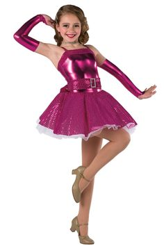 Style# 17246 SOME LIKE IT HOT Fuchsia metallic spandex leotard with fuchsia sequined boucle overlay, attached skirt and spandex binding straps. Separate matching belt and white chiffon underskirt. Rhinestone buckle trim. Mitts included. SC-XXLA A62R/041-Rhinestone choker, optional. A63R/041-Rhinestone hair pins, optional.