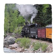 Steam train & river, Colorado Tufted Chair Cushion on CafePress.com