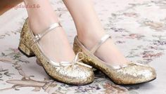 Womens-Lolita-Low-Block-Heel-Cosplay-mary-janes-Bling-Glitter-Sequins-Heels-new