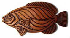 Fish Wall Sculpture - carved wooden fish carving