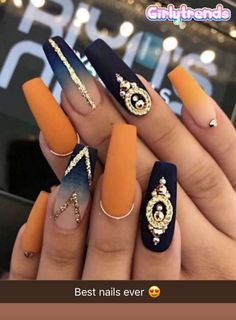 Ballerina Nägel - 40 amazing ideas for every occasion- Ballerina nails ideas for any occasion orange and blue ombre nails with stones and lines - Cute Acrylic Nails, Acrylic Nail Designs, Matte Nails, Acrylic Nails Orange, Gradient Nails, Holographic Nails, Coffin Nail Designs, Jewel Nails, Nails Design