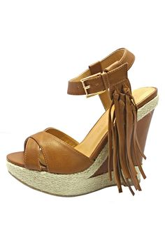 """Vegan leather open toe esparille ankle strap wedge platform sandals with fringe tassel accent. Features cushioned insole padded footbed and round toe shape.  Heel height approx. 5"""". Platform height approx. 1.25""""  Fringe Wedges by BRANDED. Shoes - Wedges San Diego California"""