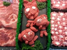 sculptures en viande hachee geek 5   Les sculptures en viande hachée de Epic Grinds   viande Sculpture pop culture Kieran Gormley hache