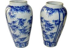 Although I don't care for Asian-themed transferware/ironstone items, these are cool.    Blue & White Vases, Pair
