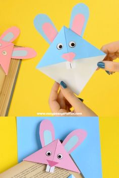 This Easter Bunny corner bookmark is a perfect little Easter origami for kids to make. # Easter Bunny Corner Bookmark – DIY Origami for Kids Diy Origami, Origami Rose, Origami Ball, Paper Crafts Origami, Paper Crafts For Kids, Preschool Crafts, Paper Crafting, Diy For Kids, Fun Crafts