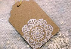 Simple lace doily gift tags in natural kraft brown all occasion 6 pieces