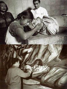 """Fotografía titulada """"Madre enlutada"""", Faustino Mayo retrata el dolor de una mujer ante el asesinato de su hijo, Luis Morales Jiménez. En la toma inferior, seis años más tarde, David Alfaro Siqueiros pinta el mural """"El arte escénico en la vida social de México"""" en el vestíbulo de la ANDA, donde plasma la imagen de Mayo."""