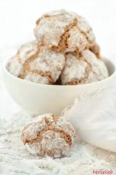 Recipe for Amaretti Cookies   Rezept für softe Amarettis    find me on Facebook: https.//facebook.com/herzelieb   © herzelieb