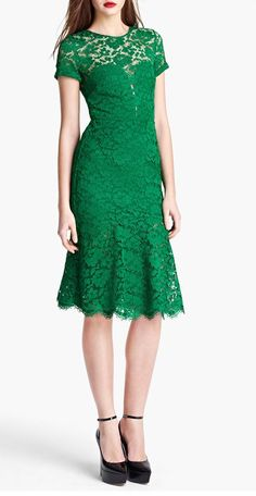 emerald lace dress / burberry @Rose Pendleton Pendleton Deleon Abbo. I would LOVE this dress if it were in a coral, orange, or warm toned color. So pretty!