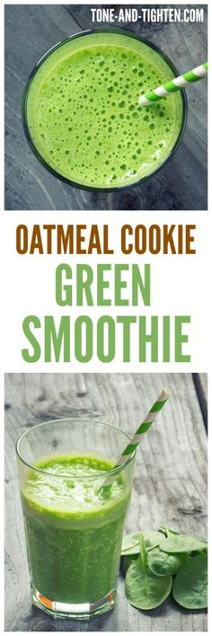 Oatmeal Green Smoothie on Tone-and-Tighten Easy Green Smoothie Recipes, Healthy Green Smoothies, Good Smoothies, Healthy Juices, Healthy Drinks, Healthy Snacks, Healthy Eating, Breakfast Smoothies, Juice Recipes