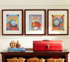Train Art Inserts | Pottery Barn Kids set of 3 8x10 $24 (for Wyatt's room)