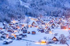Winter illumination, Shirakawa-go Village, (world heritage site), Japan by Sakarin Sawasdinaka Beautiful Places To Visit, Great Places, Asia Travel, Japan Travel, Places To Travel, Places To Go, Shirakawa Go, Winter In Japan, Winter Scenery