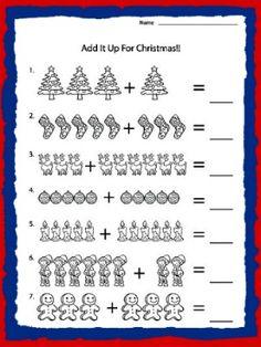 kindergarten math worksheets | Kindergarten Math Addition Worksheet and Winter Song