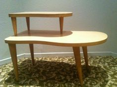 Mid Century Eames Blond End Table amoeba kidney boomerang