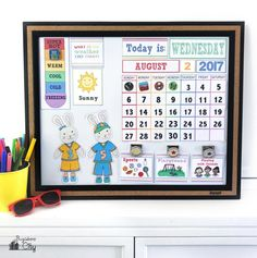 Create a DIY Children's Calendar with these free printables for days of the week, months, weather and daily activities. 2017 calendar pages available.