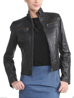 Women'S Soft Leather Motorcycle Biker Jacket 100% Genuine Soft Lambskin N024