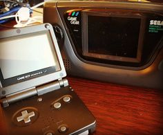 bibliobrian_: Picked up a couple retro handhelds for my birthday. #geek #nintendo #gameboy #gameboyadvance #sp #sega #gamegear #games #gaming #videogames #cool #classic #gadgets #gamegear #microobbit