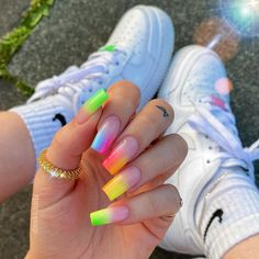 Almond Acrylic Nails, Summer Acrylic Nails, Best Acrylic Nails, Rainbow Nails, Neon Nails, Pink Nails, Neon Nail Art, Neon Nail Designs, Cute Acrylic Nail Designs