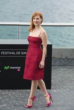 Jessica Chastain is seen wearing a watch of Jaeger Le-Coultre at the photocall of her new movie 'The Dissapearance of Eleanor Rigby' at the Aquarium during the 62nd San Sebastian International Film Festival on September 23, 2014 in San Sebastian, Spain.