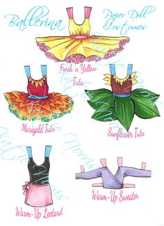 Printable Ballerina Paper Doll Dance Costumes by RegencyWhimsys