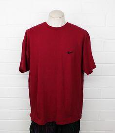 Vintage 90s Nike Basic Shirt XL Maroon Swoosh Logo X-Large Tee T-Shirt 97fbd65cc